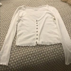 V neck button front tee